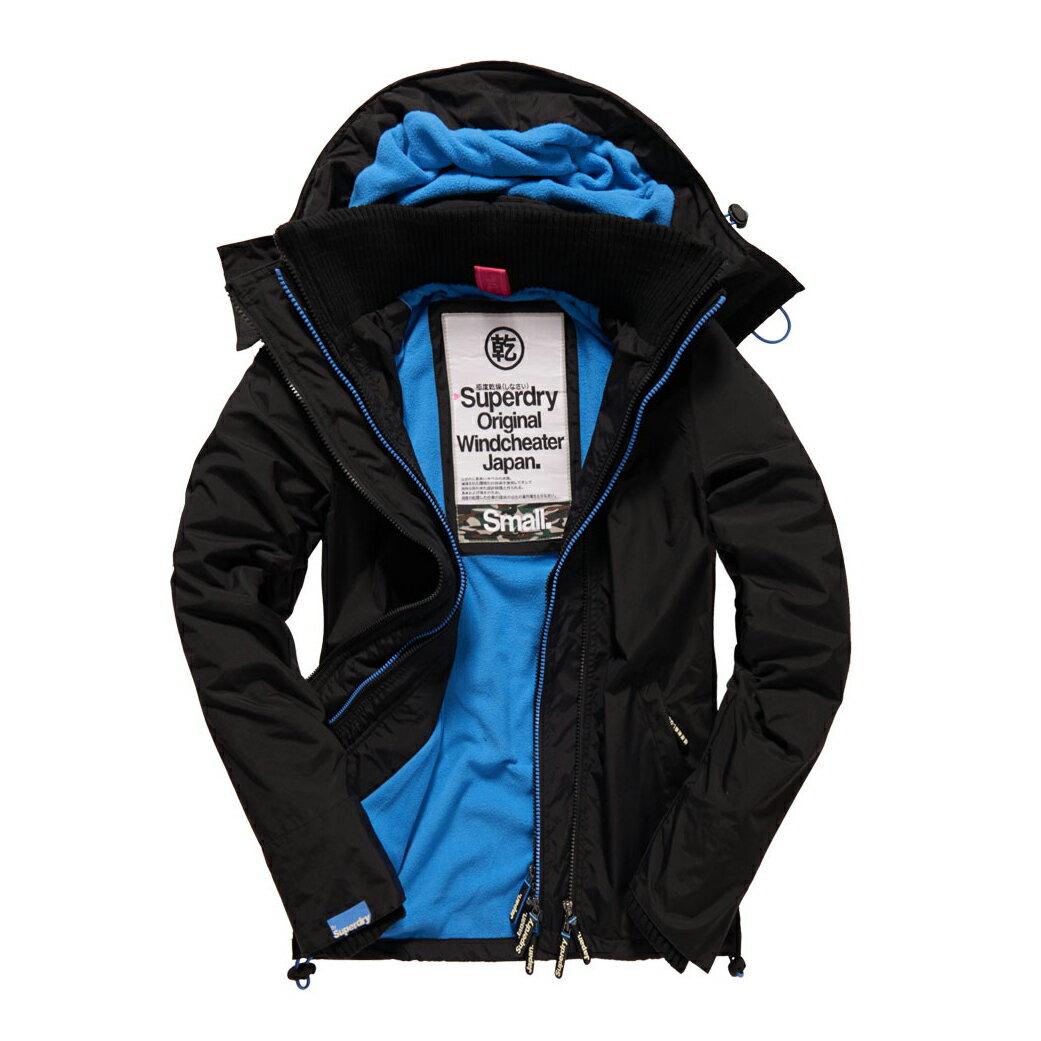 美國百分百【全新真品】Superdry 極度乾燥 風衣 連帽 外套 防風 夾克 刷毛 黑色 藍 女 L號 F855