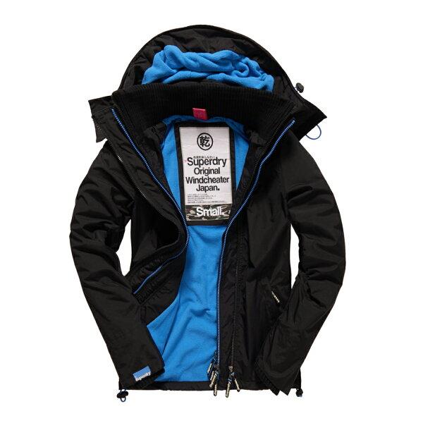 美國百分百:美國百分百【全新真品】Superdry極度乾燥風衣連帽外套防風夾克刷毛黑色藍女L號F855