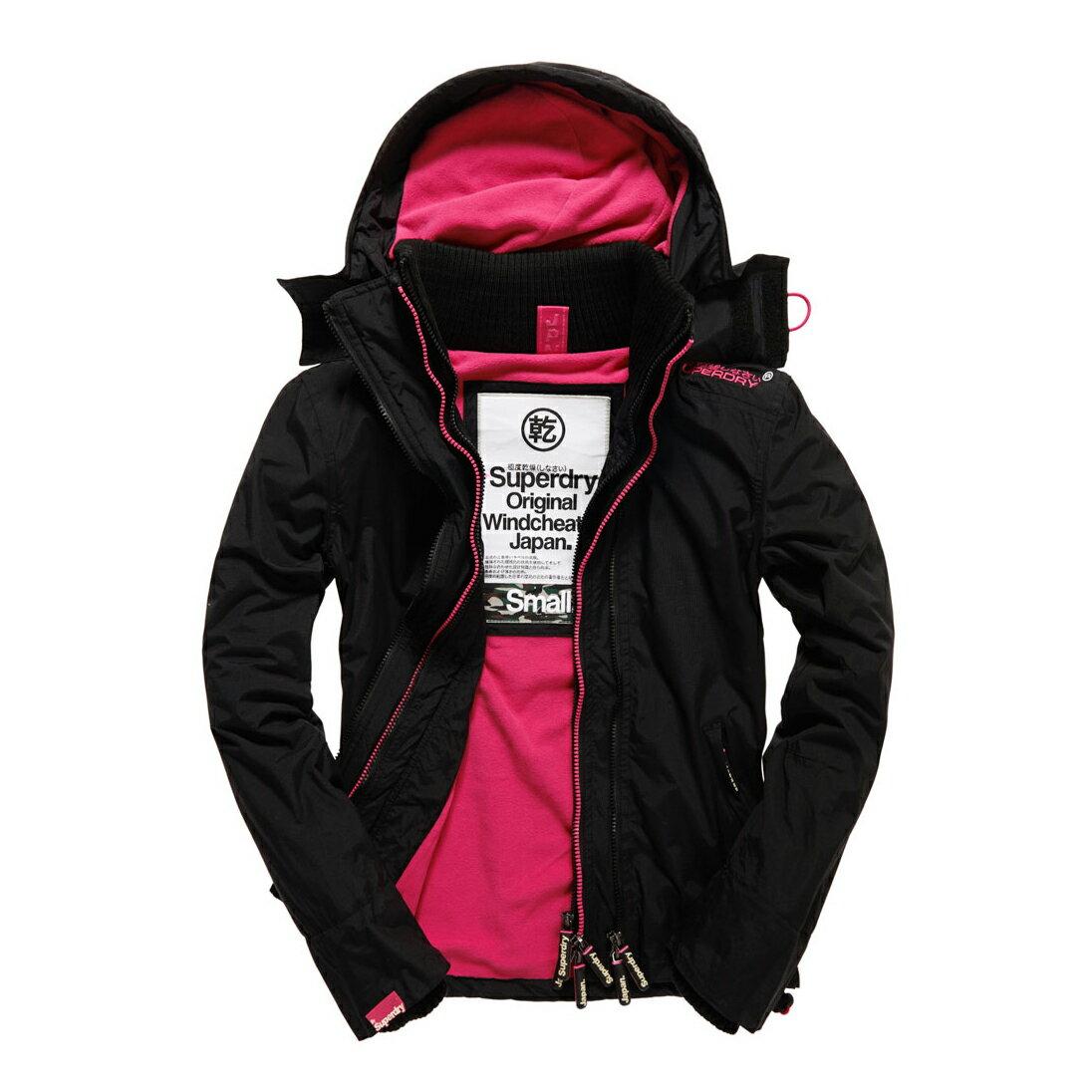 美國百分百【全新真品】Superdry 極度乾燥 風衣 連帽 外套 防風 夾克 刷毛 黑色 粉紅 女 S號 F855