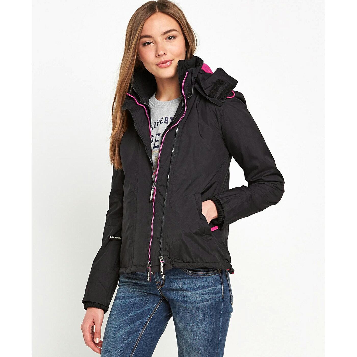 美國百分百【全新真品】Superdry 極度乾燥 風衣 連帽 外套 防風 夾克 刷毛 黑色 粉紅 女 S號 F856