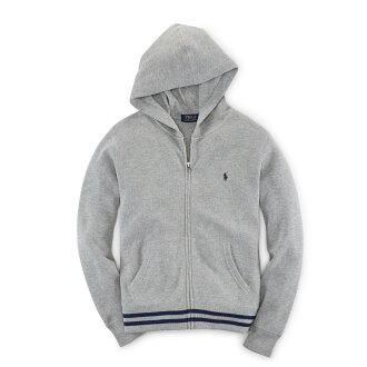 美國百分百【Ralph Lauren】RL polo 棉質 連帽 外套 針織 羅紋 夾克 小馬 灰 XS S號 F859