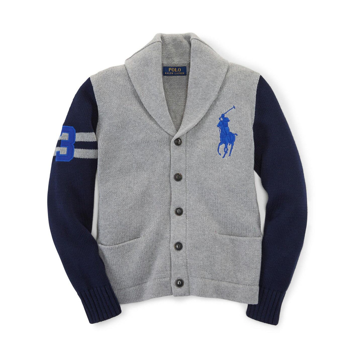 美國百分百【Ralph Lauren】RL polo 法式罩衫 開襟 外套 大馬 針織衫 灰色 深藍 S號 F862