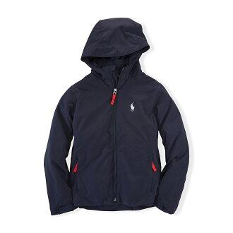 美國百分百【Ralph Lauren】RL polo 連帽 風衣 外套 擋風 夾克 小馬 可收納 深藍 S號 F863