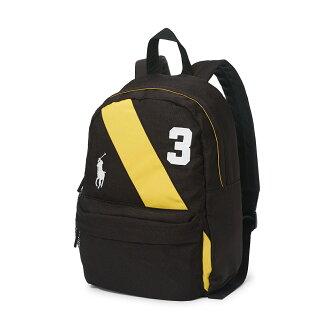 美國百分百【Ralph Lauren】後背包 RL 男 女 polo 學生包 書包 帆布 彩帶 大馬 黑色 F865