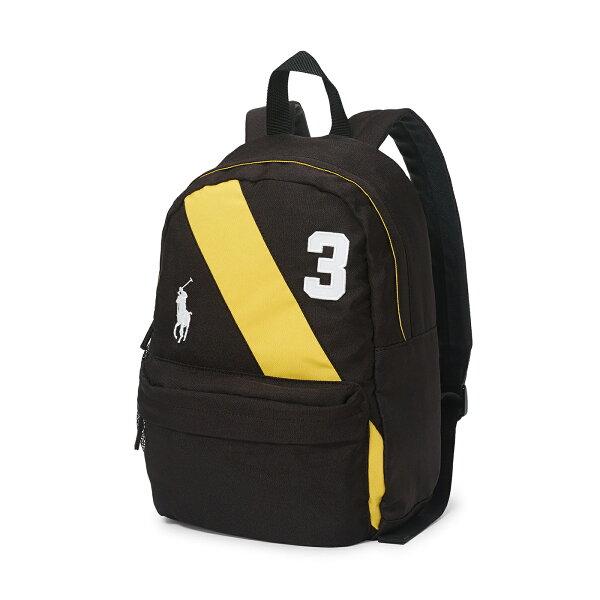 美國百分百:美國百分百【RalphLauren】後背包RL男女polo學生包書包帆布彩帶大馬黑色F865