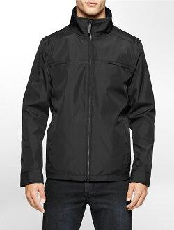 美國百分百【Calvin Klein】外套 CK 夾克 防風 防潑水 透氣 保暖 立領 軟殼 黑色 S M號 F869