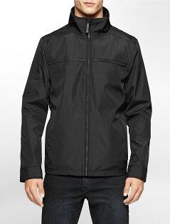 美國百分百:美國百分百【CalvinKlein】外套CK夾克防風防潑水透氣保暖立領軟殼黑色SM號F869