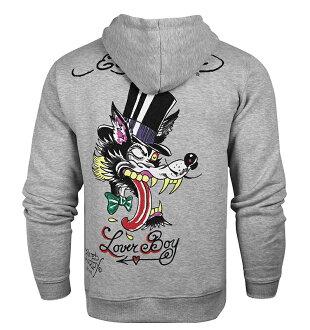 美國百分百【全新真品】Ed Hardy 潮牌 專櫃 連帽 外套 夾克 灰色 刺青 野狼 Loverboy S號 E412