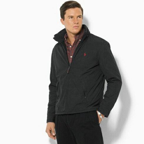 美國百分百【Ralph Lauren】立領 夾克 風衣 連帽 外套 RL polo 經典 薄 S號 黑色 F847