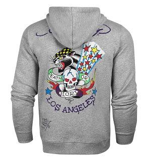 美國百分百:美國百分百【全新真品】EdHardy潮牌連帽外套夾克灰色LosAngeles刺青M號F881