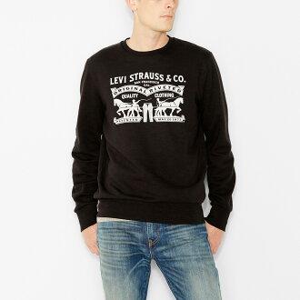 美國百分百【全新真品】Levis 長袖 T恤 logo 刷毛 T-shirt 上衣 大學T 經典 黑色 S號 F886