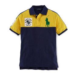 美國百分百【Ralph Lauren】Polo衫 RL 短袖 網眼 大馬 徽章 色塊 拼色 黃色 深藍 男 女 XS S號 F887