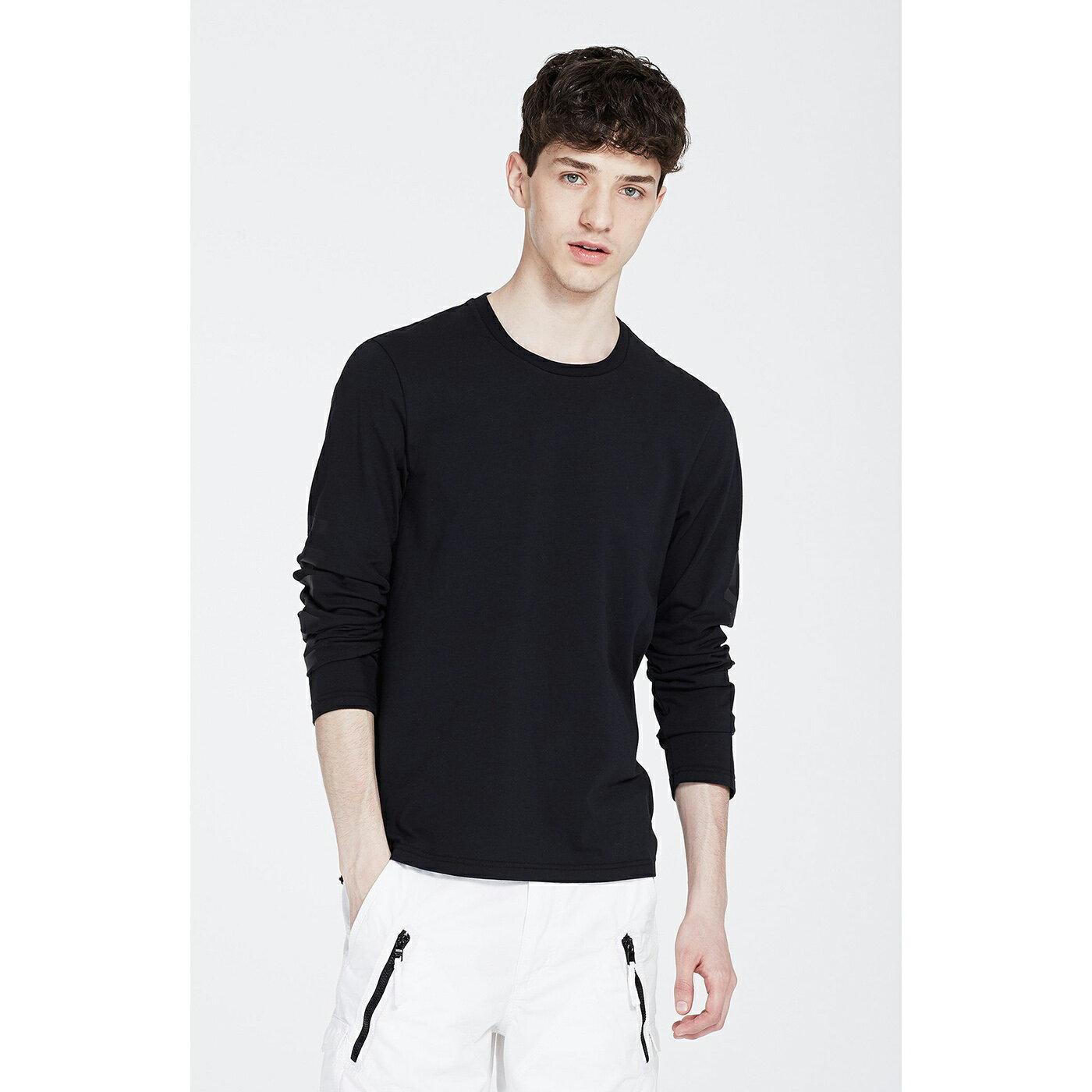 美國百分百【Armani Exchange】T恤 AX 長袖 logo 上衣 T-shirt 黑色 XS S號 F889