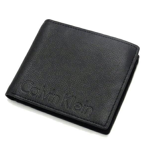 美國百分百【Calvin Klein】皮夾 CK 短夾 真皮 二折 皮革 質感 壓紋 鈔票 零錢 男 黑色 F906