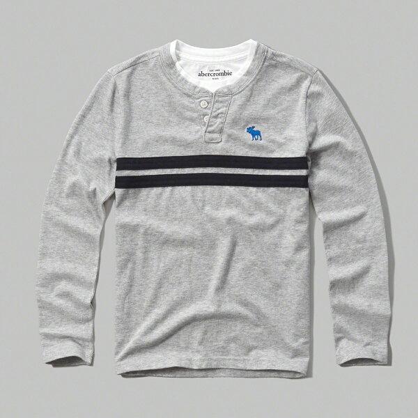 美國百分百:美國百分百【Abercrombie&Fitch】T恤AF長袖T-shirt麋鹿亨利領淺灰男女S號F911