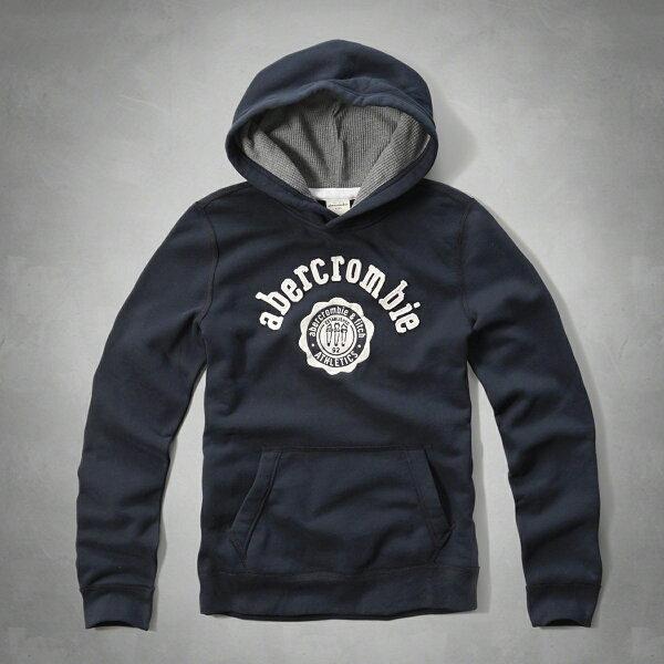 美國百分百:美國百分百【Abercrombie&Fitch】帽T連帽AF長袖上衣麋鹿深藍男女XSS號F925