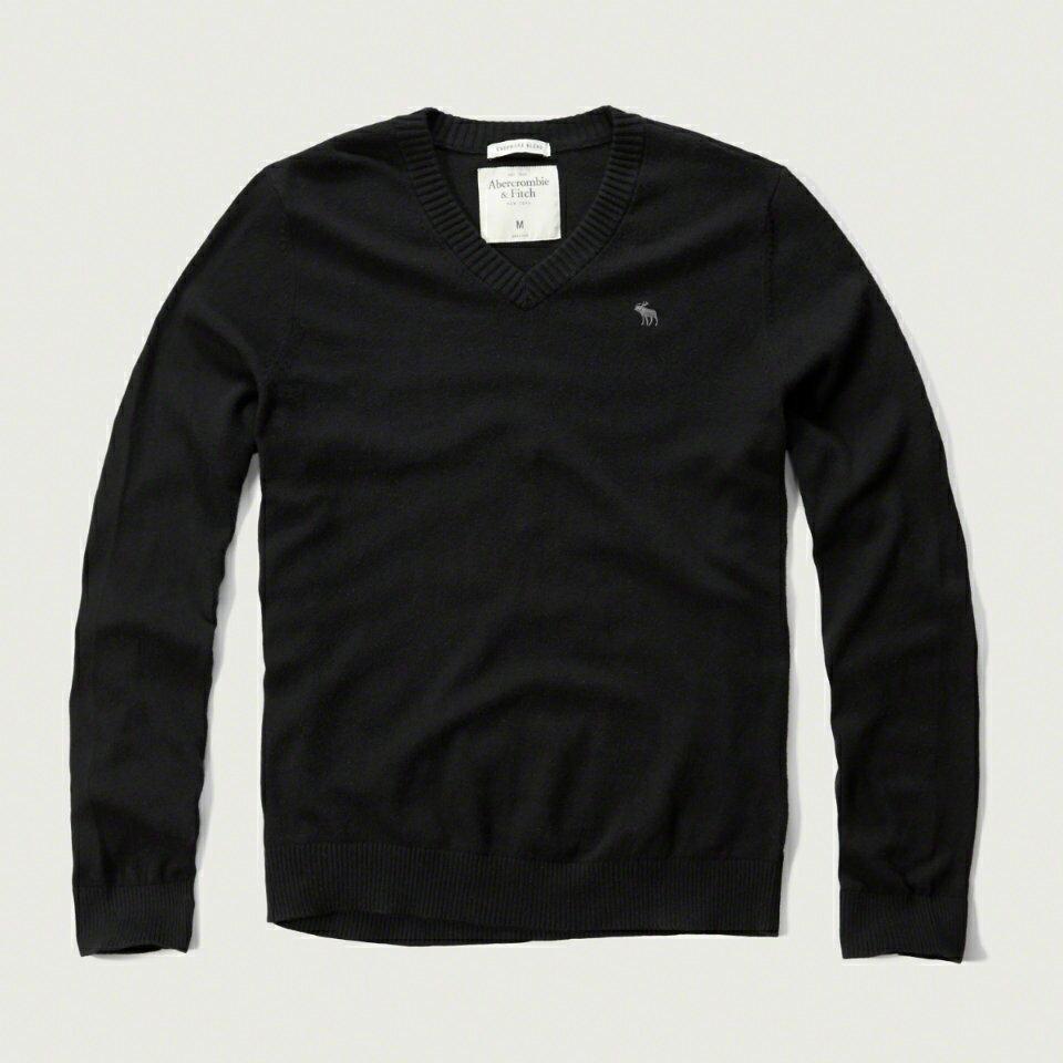 美國百分百【Abercrombie & Fitch】針織衫 AF 毛衣 麋鹿 喀什米爾 羊毛 V領 黑色 S M L號 F928
