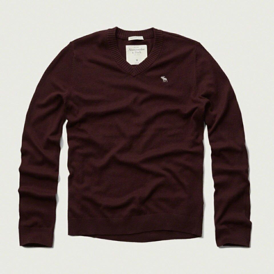 美國百分百【Abercrombie & Fitch】針織衫 AF 毛衣 麋鹿 V領 喀什米爾 羊毛 酒紅色 S M L XL號 F928