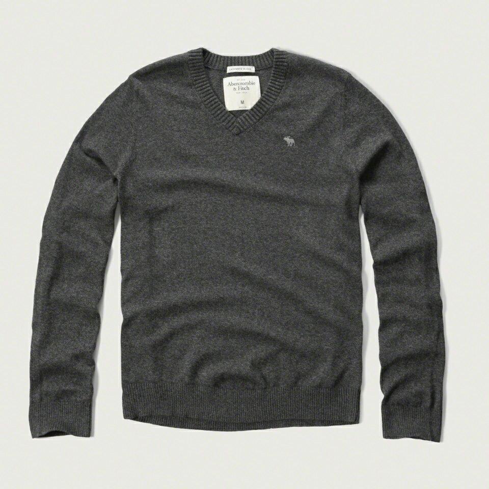美國百分百【Abercrombie & Fitch】針織衫 AF 毛衣 麋鹿 V領 喀什米爾 羊毛 麻灰色 S M L號 F928