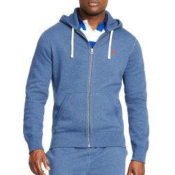 美國百分百【全新真品】Ralph Lauren 外套 RL 男 帽T 連帽 夾克 POLO 鐵藍色 M號 B034