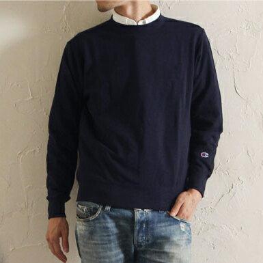 美國百分百【Champion】冠軍 T恤 長袖 T-shirt logo 素T 刷毛 大學T 深藍 XS S號 C820