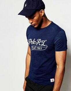 美國百分百:美國百分百【RalphLauren】T恤RL短袖上衣T-shirtPoloLOGO繡字深藍XSS號F933