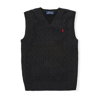 美國百分百【全新真品】Ralph Lauren 麻花 針織衫 RL 背心 上衣 Polo 小馬 XS S號 黑色 C085