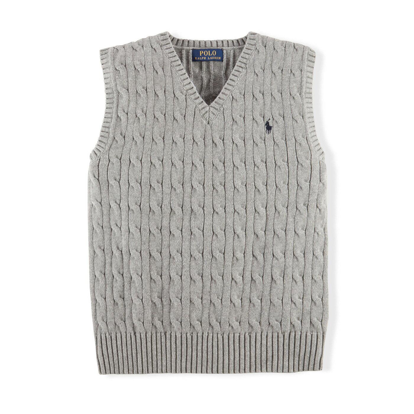美國百分百【全新真品】Ralph Lauren 麻花 針織衫 RL 背心 上衣 Polo 小馬 XS S號 灰色 C085