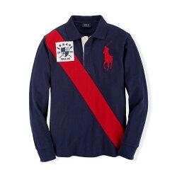 美國百分百【全新真品】Ralph Lauren 大馬 Polo衫 RL 長袖 上衣 旗幟 深藍 紅馬 S號 F941