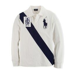 美國百分百【全新真品】Ralph Lauren 大馬 Polo衫 RL 長袖 上衣 旗幟 白色 深藍馬 S號 F941