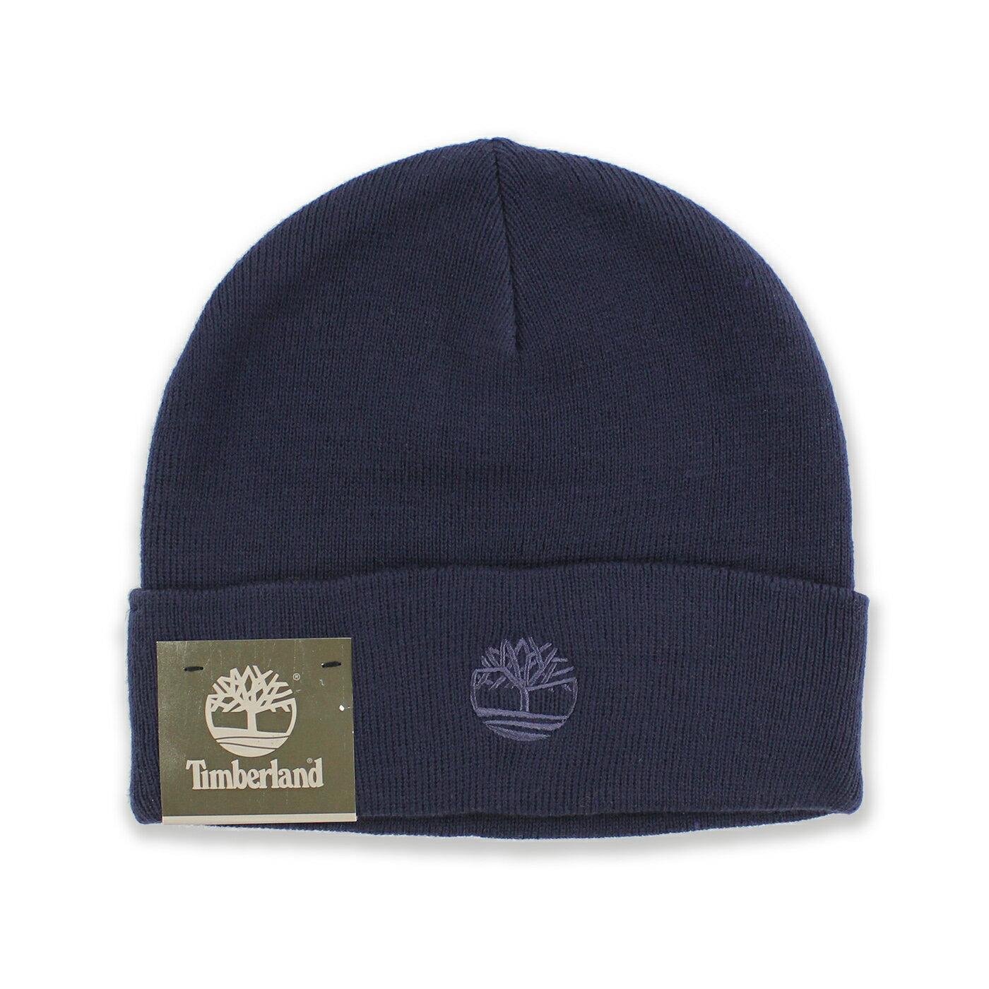 美國百分百【Timberland】帽子 配件 針織帽 毛帽 素面 男 女 反折 刺繡 深藍 台灣製造 B557