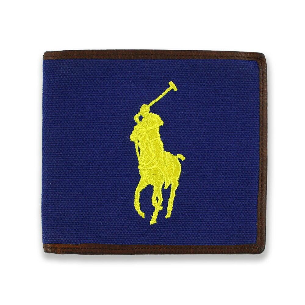美國百分百【全新真品】Ralph Lauren 皮夾 RL 短夾 Polo 帆布 大馬 鈔票 名片 寶藍底黃馬 C492