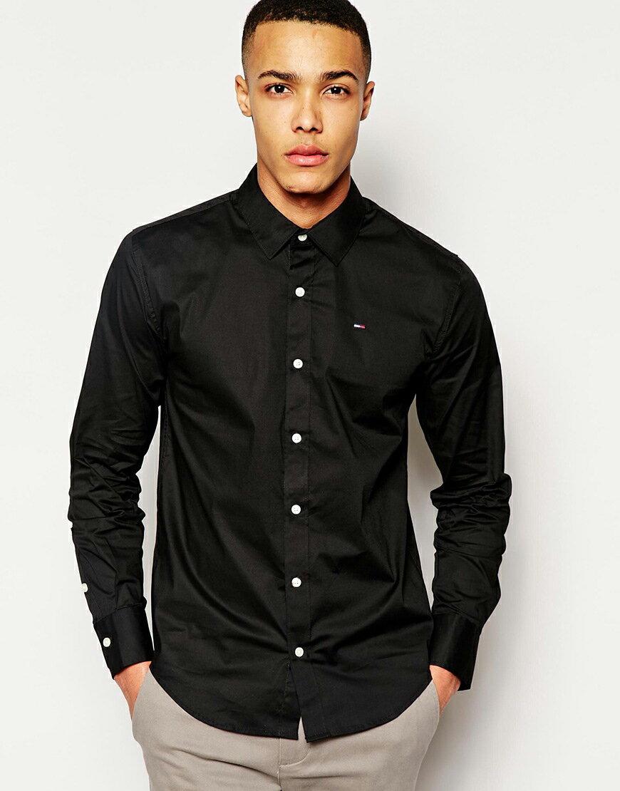 美國百分百【全新真品】Tommy Hilfiger 襯衫 TH 上衣 素面 長袖 襯衫 合身 黑色 M號 C556