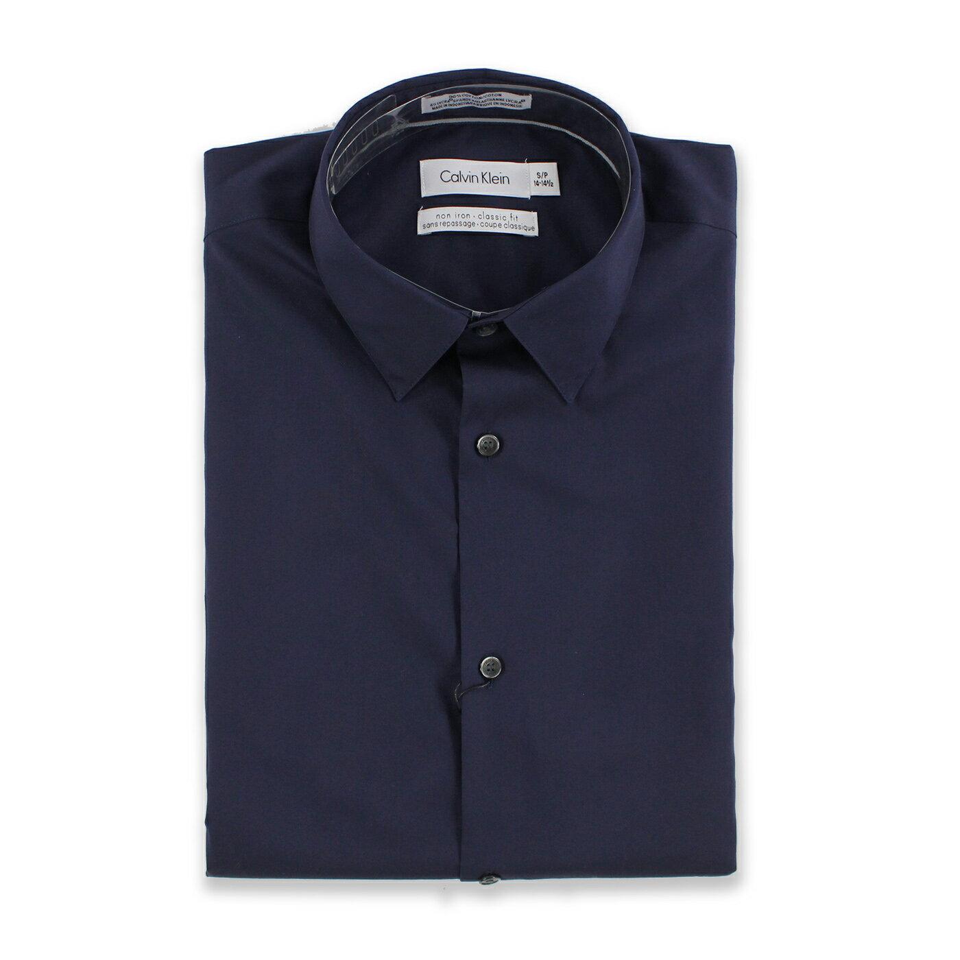 美國百分百【全新真品】Calvin Klein 襯衫 CK 素面 上班 長袖 上衣 工作衫 深藍 S號 C615
