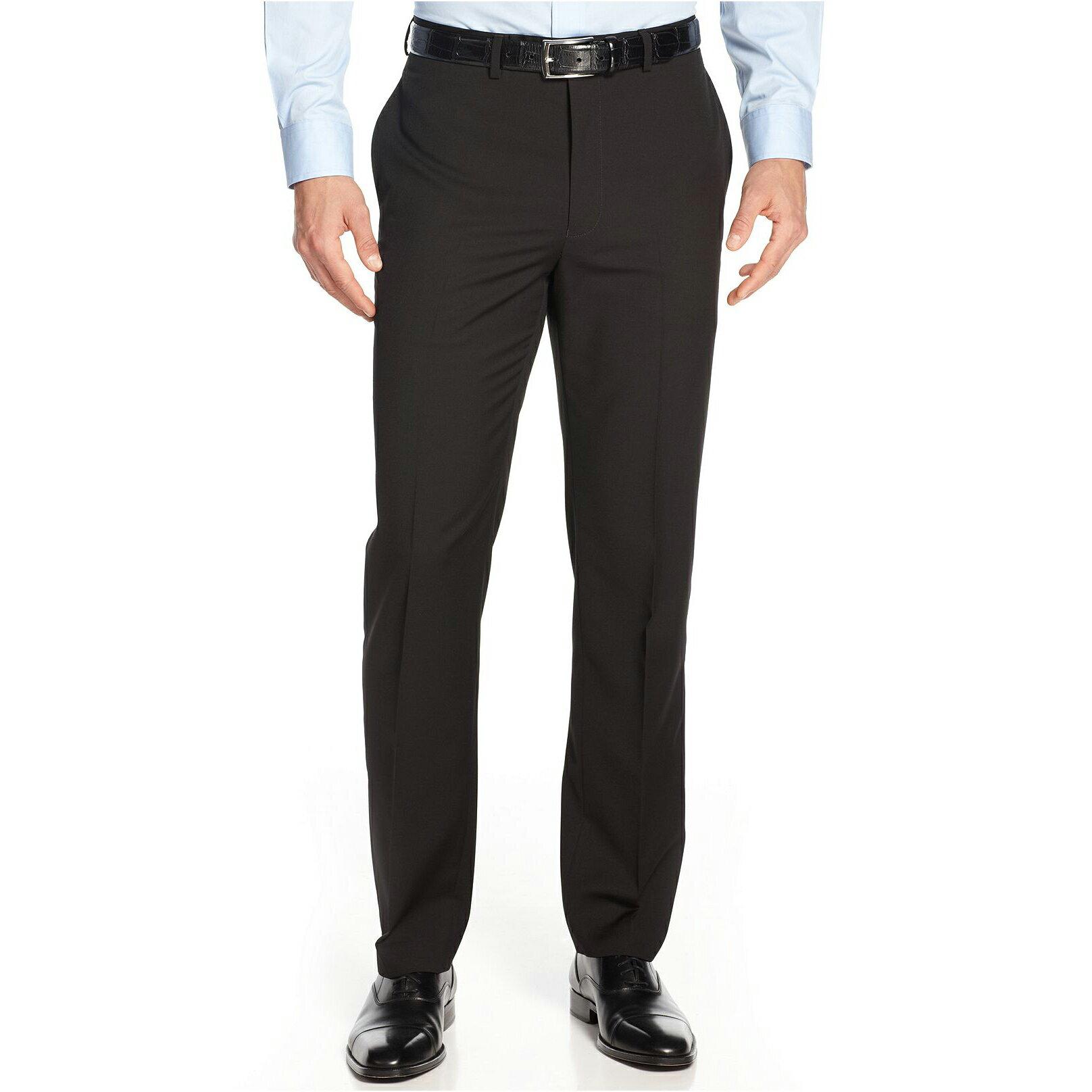 美國百分百【Calvin Klein】CK 長褲 西裝褲 直筒 合身 黑 30 31 32 33 34 36腰 E220