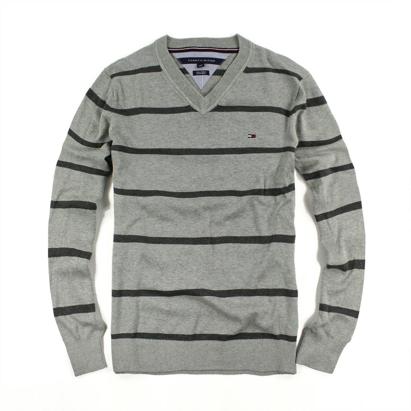 美國百分百【Tommy Hilfiger】針織衫 TH 線衫 毛衣 條紋 V領 休閒 灰色 深灰 L號 F979