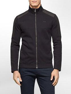 美國百分百【Calvin Klein】外套 CK 夾克 立領 騎士 尼龍 針織 拼接 修身 黑色 S 大尺碼 S L XL XXL號 F986