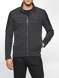 美國百分百【Calvin Klein】外套 CK 夾克 立領 騎士 針織 拼接 修身 深麻灰 S M XL號 F986