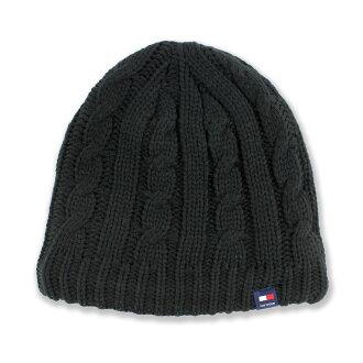 美國百分百【全新真品】Tommy Hilfiger 扁帽 配件 毛帽 帽子 毛線帽 TH 針織 麻花 刷毛 黑 F990