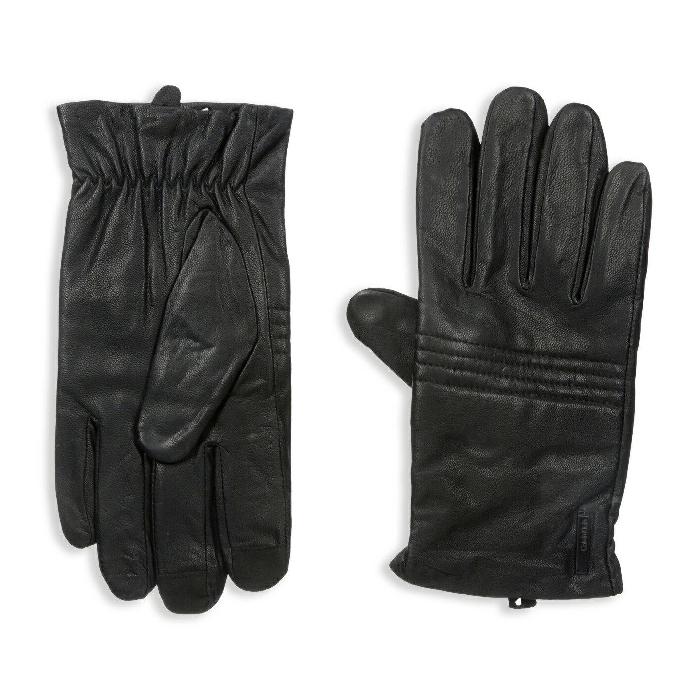 美國百分百【全新真品】Calvin Klein 手套 CK 防寒 保暖 皮質 皮手套 配件 騎士 黑 M L號 F994