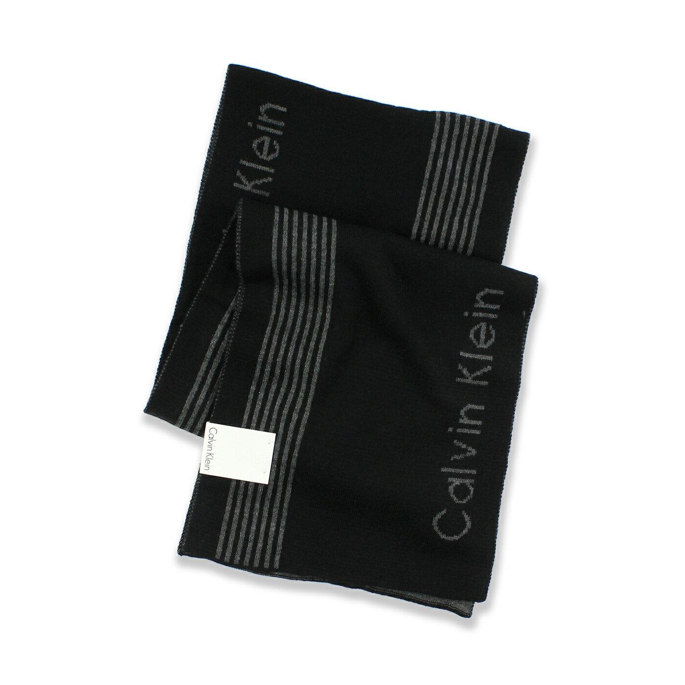 美國百分百【全新真品 】Calvin Klein 圍巾 CK 披肩 披巾 黑色 深灰 條紋 針織 雙面 男 女 F995