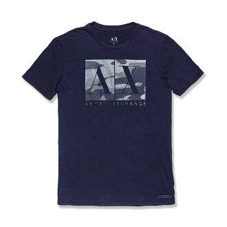 美國百分百【Armani Exchange】T恤 AX 短袖 logo 上衣 T-shirt 迷彩 M號 深藍 G004