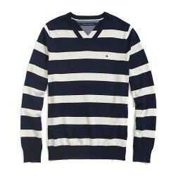 美國百分百【Tommy Hilfiger】針織衫 TH 線衫 毛衣 條紋 V領 休閒 深藍 淺灰 M號 G027