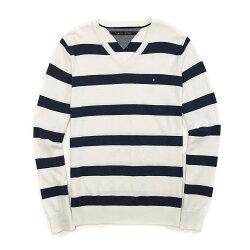 美國百分百【Tommy Hilfiger】針織衫 TH 線衫 毛衣 條紋 V領 休閒 深藍 白色 XS號 G027
