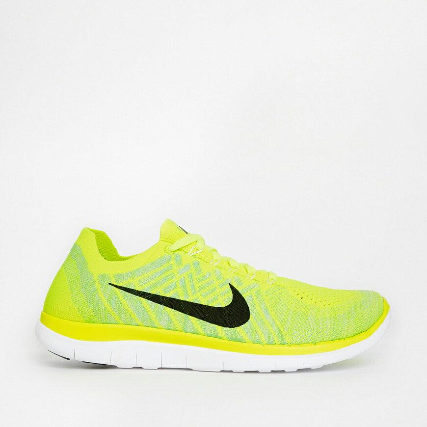 美國百分百【Nike】Free 4.0 Flyknit 耐吉 鞋子 慢跑鞋 運動鞋 球鞋 編織 螢光黃綠 男款 US 10.5號 G030