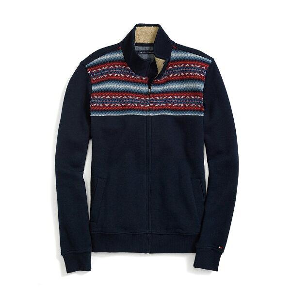 美國百分百【Tommy Hilfiger】棉質 立領 外套 TH 聖誕節 民俗風 古著 刷毛 深藍 XS M號 G045