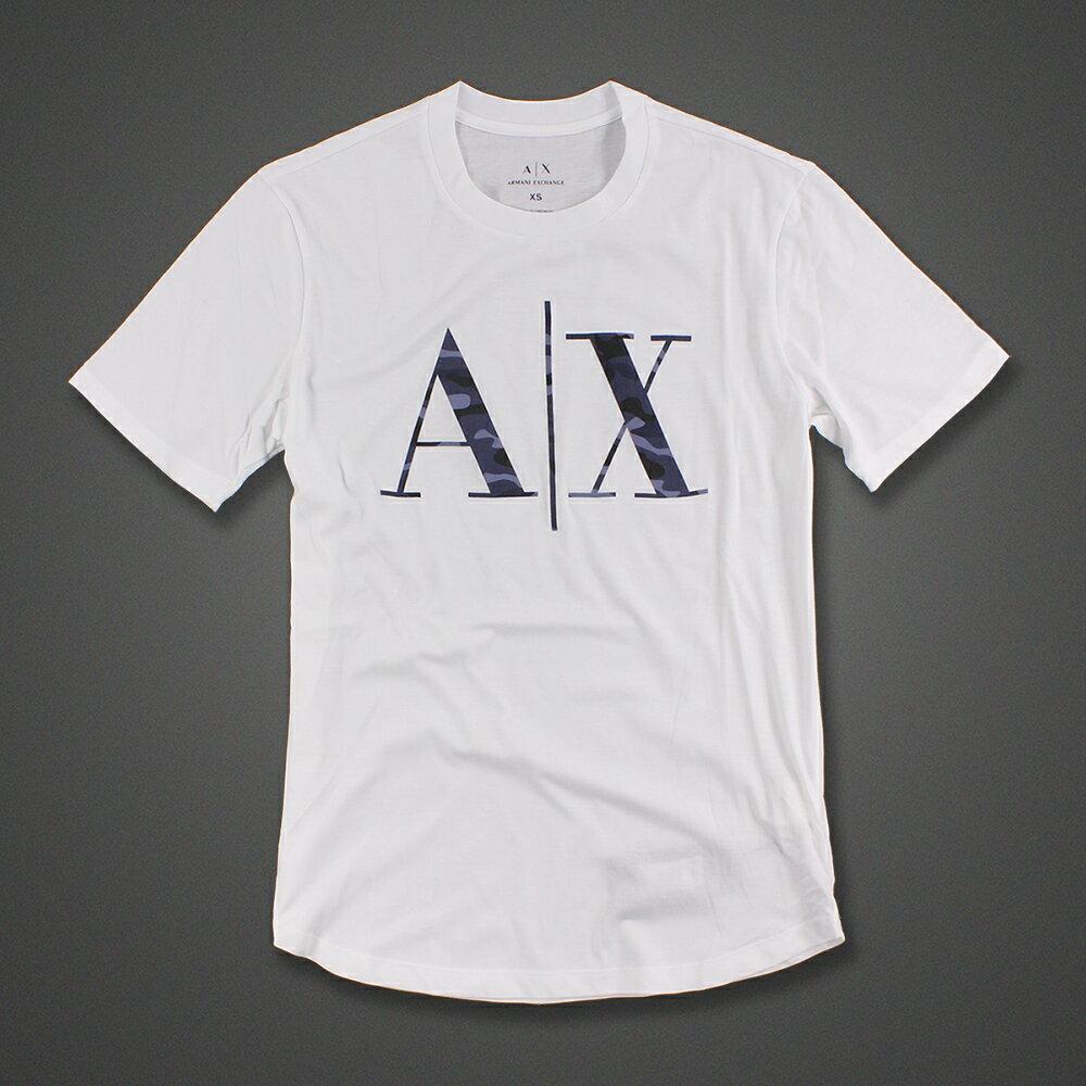美國百分百【Armani Exchange】T恤 AX 短袖 logo T-shirt 迷彩 白色 XS S號 G052