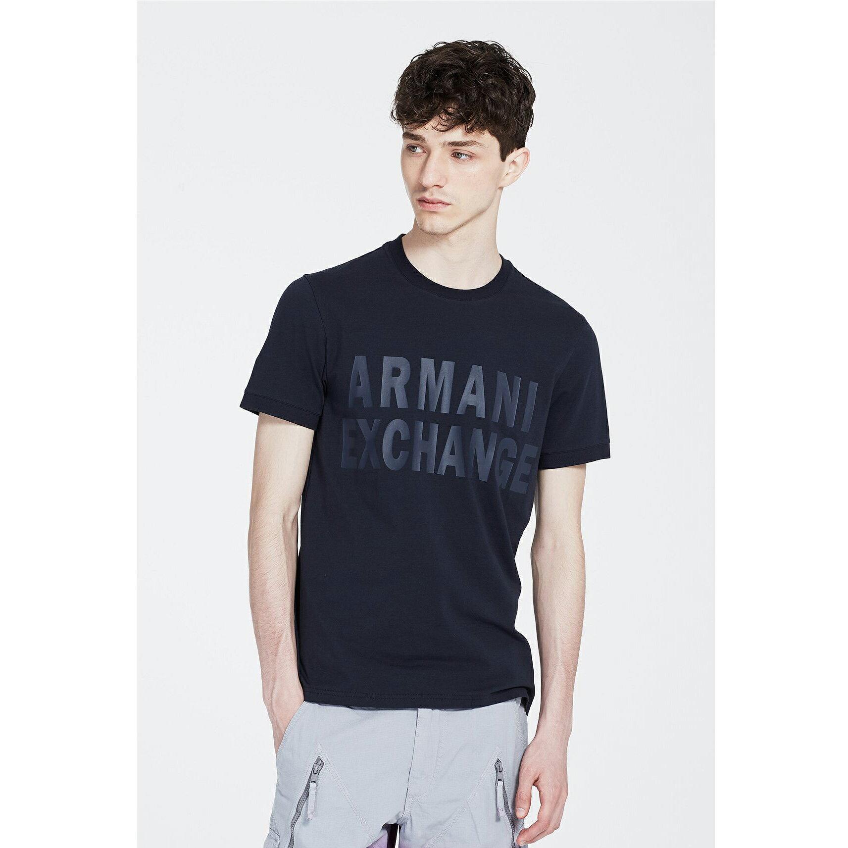 美國百分百【Armani Exchange】T恤 AX 短袖 logo 束口 T-shirt 深藍色 XS號 G060