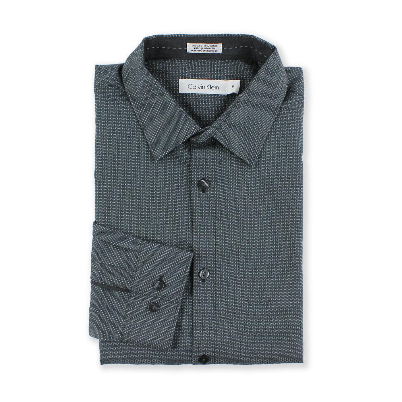 美國百分百【全新真品】Calvin Klein 襯衫 CK 上班 長袖 上衣 休閒 純棉 印花 深灰 M號 G084