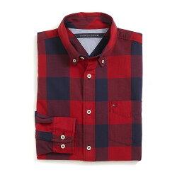 美國百分百【全新真品】Tommy Hilfiger 襯衫 TH 聖誕節 長袖 休閒 格紋 深藍 紅色 XS號 G087